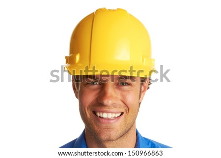 Confident Construction Worker isolated on white.