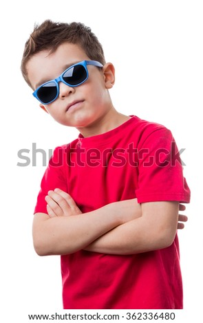 Confident cool boy with red dress shirt and sunglasses, isolated on white background - stock photo