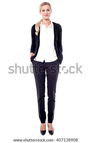 Confident corporate lady isolated over white - stock photo