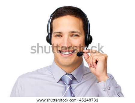 Confident customer service agent using headset against a white background - stock photo