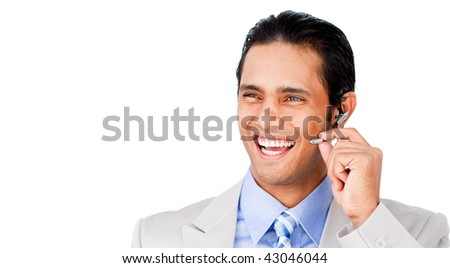 Confident customer service agent with headset on against a white background