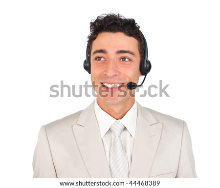 Confident customer service representative using headset against a white background - stock photo