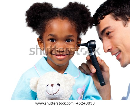 Confident doctor examining his young patient against a white background - stock photo