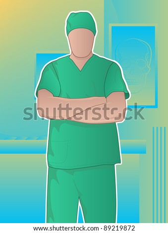 confident doctor standing with arms crossed/surgeon in operating room - stock photo