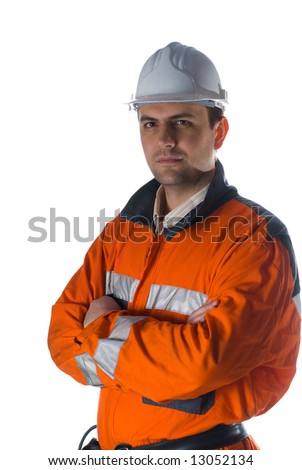 Confident engineer isolated on white background with copy space stock photo