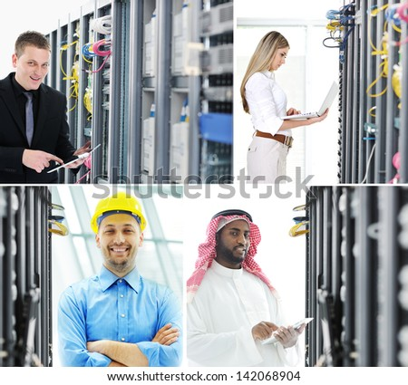 Confident engineers working in server room global communications data center - stock photo