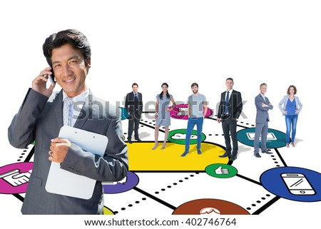 Confident estate agent standing at front door on the phone against social networking graphic - stock photo