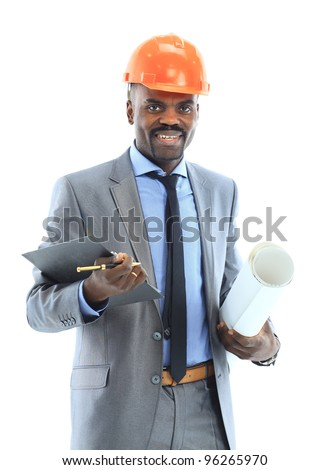 Confident ethnic architect wearing a hardhat against a white background - stock photo
