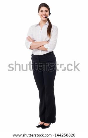 Confident female customer support executive - stock photo