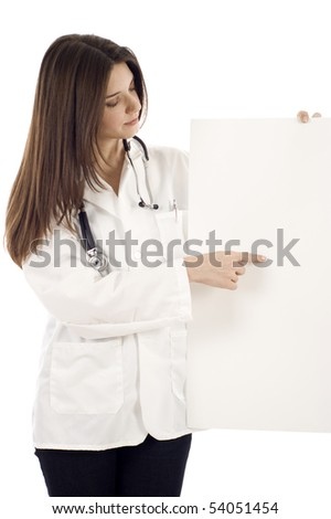 Confident Female doctor with a banner isolated over a white background