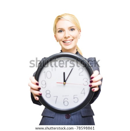 Confident Friendly Young Caucasian Business Woman Holding A Large Clock In Hands Showing The Success And Joy Of Good Office Timekeeping In A Happy Hour Concept