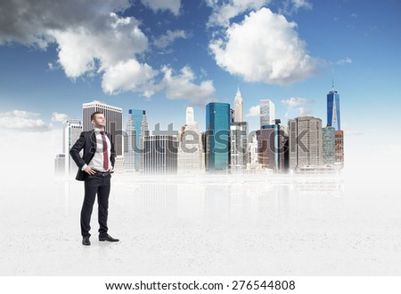 Confident handsome businessman is going to tackle with problems in drawn New York business district. A concept of financial consultancy. - stock photo