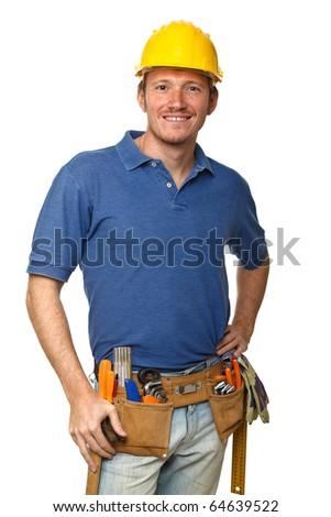 confident handyman portrait isolated on white background - stock photo