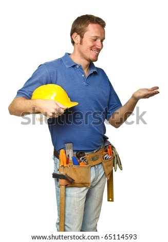 confident handyman portrait isolated on white background - stock photo