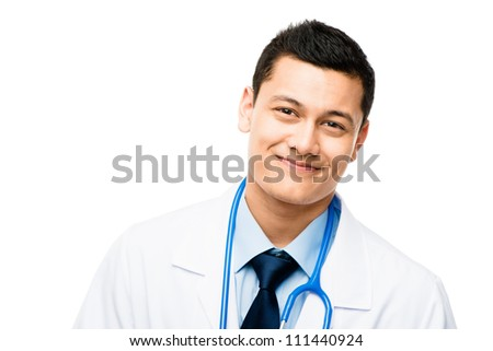 Confident happy Asian male doctor isolated on white background - stock photo