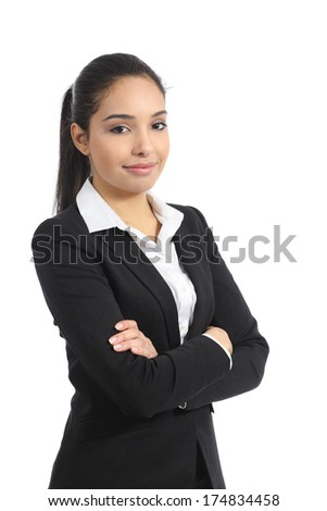 Confident happy business woman posing isolated on a white background                - stock photo