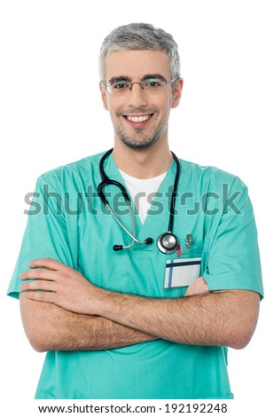 Confident happy male doctor isolated on white background - stock photo