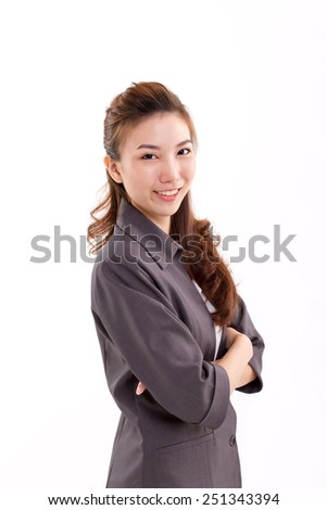 confident, happy, smiling, positive business executive looking at camera - stock photo