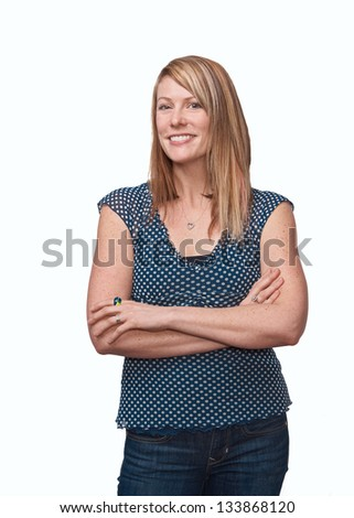 Confident happy woman standing isolated - stock photo