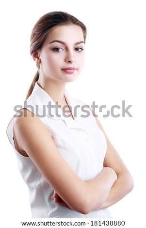 Confident hispanic woman in white blouse - stock photo