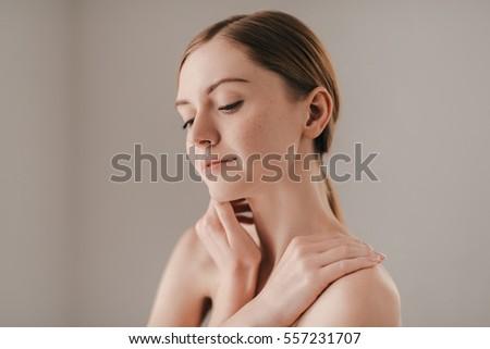Cum on her freckled hand