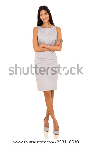 confident indian business woman with arms crossed on white background - stock photo