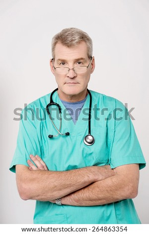 Confident male doctor stethoscope around his neck