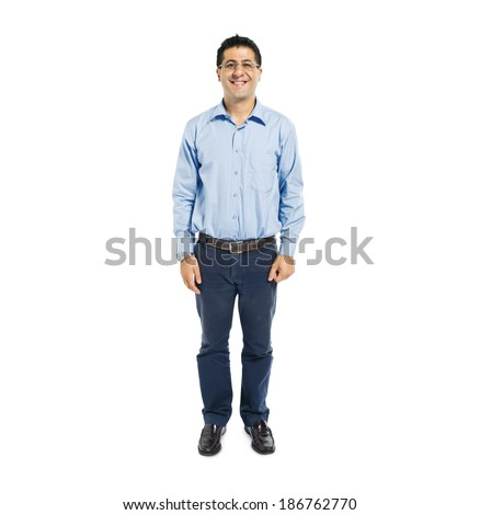 Confident Man Standing and Smiling - stock photo