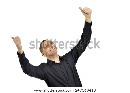 Confident man with thumbs up on a white background