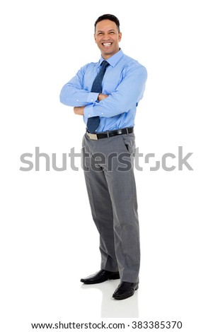 confident mature businessman with arms folded isolated on white - stock photo