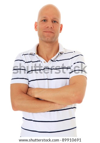 Confident middle age man. All on white background. - stock photo