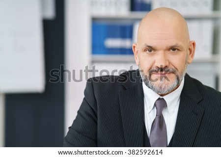 Confident middle aged handsome businessman with beard and bald head in suit and tie looking at camera - stock photo