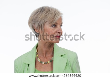 confident neat senior woman various situations at home - stock photo