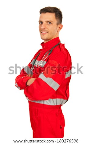 Confident paramedic man with arms folded isolated on white background - stock photo