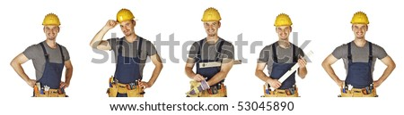 confident pose of young caucasian handyman with toolbelt - stock photo