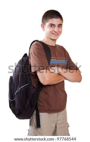 Confident preteen student with backpack isolated on white - stock photo