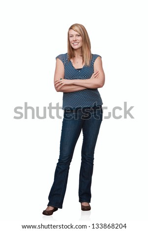Confident pretty woman full length standing isolated - stock photo