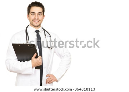 Confident professional. An attractive young doctor smiling with confidence against white background