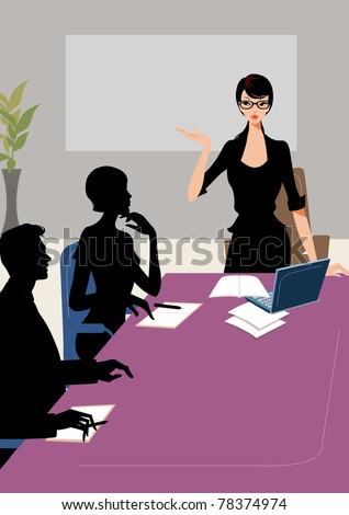 Confident professional business woman explaining a project to colleagues at the office meeting or conference with black board as background - stock photo