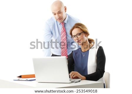 Confident sales woman presenting her idea to senior manager. Isolated on white background.  - stock photo