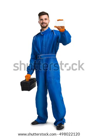 Confident service man with toolbox on white background