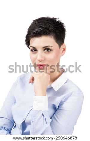 Confident smart young woman portrait isolated over white background. - stock photo
