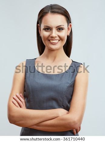 Confident smiling business woman portrait with crossed arms. Business clothes dress code. - stock photo