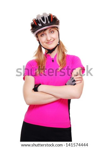Confident smiling cyclist girl on white background - stock photo
