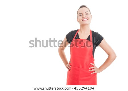 Confident smiling employee with positive attitude as successful job concept isolated on white background with copyspace - stock photo