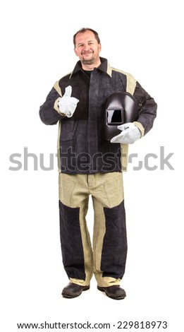 Confident welder with arms on waist. Located on a white background.