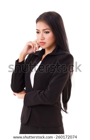confident woman business executive thinking