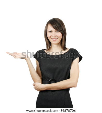 Confident woman presenting information on a whiteboard - stock photo