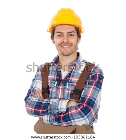 Confident worker wearing hard hat. Isolated on white - stock photo