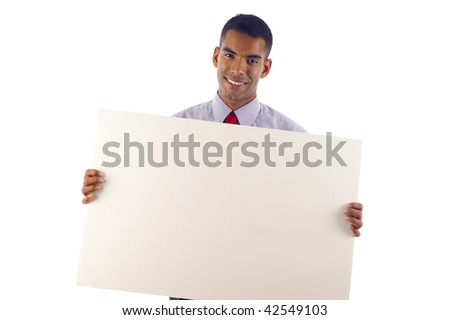 Confident Young African American / Hispanic Mixed  Business Man Displaying a Banner Ad. - Isolated over a white background - stock photo